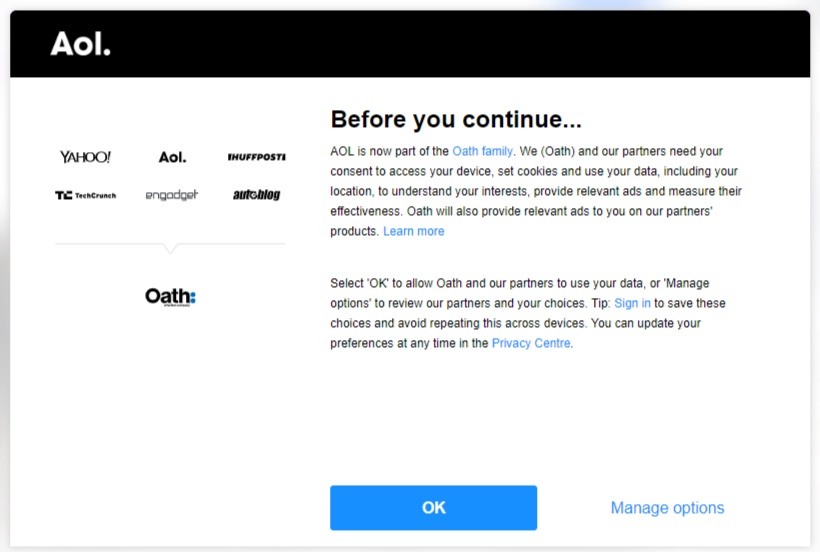 AOL Cookie Consent notice