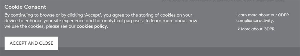 Essentra Cookie Consent notice