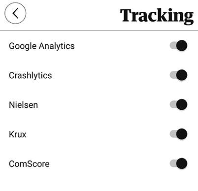 The Guardian Android app Tracking settings screen