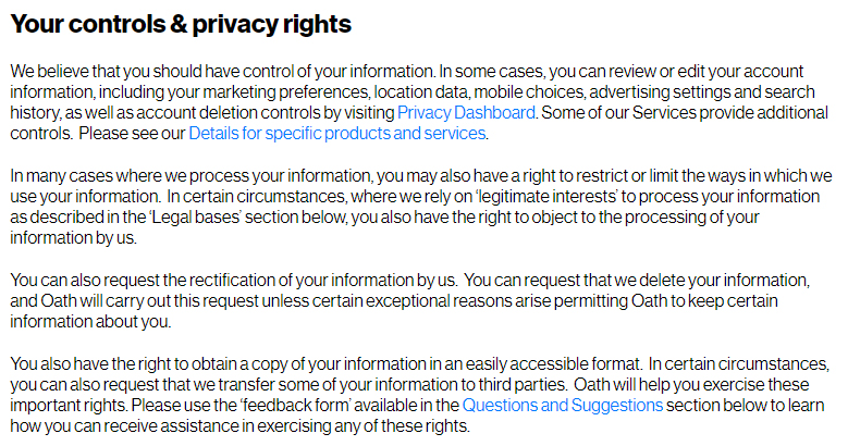 Oath Privacy Centre: Your controls and privacy rights clause