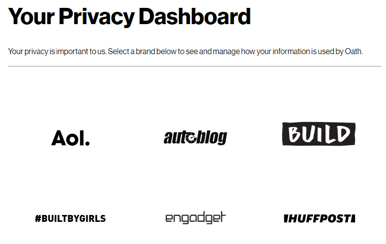 Oath Privacy Centre Dashboard with list of brands
