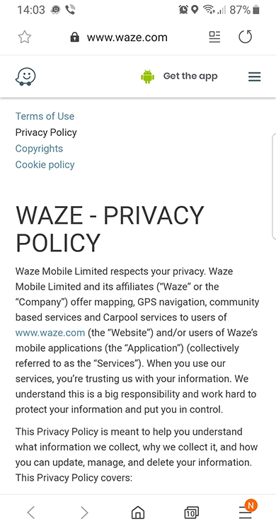 Waze mobile Privacy Policy intro excerpt