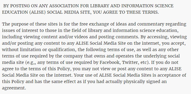 ALISE Social Media Disclaimer: Agree to these Terms