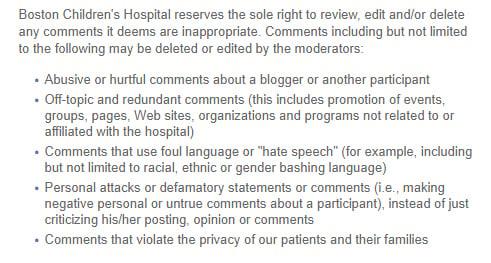 Boston Children's Hospital: Social media disclaimer prohibited comments