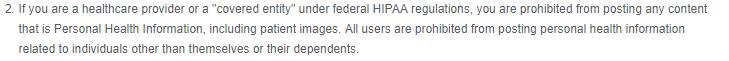 Cincinnati Children's Hospital social media disclaimer addressing HIPPA regulations