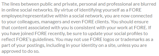 FORE: Social media disclaimer tells employees are representatives of FORE when posting online