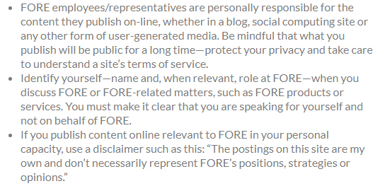FORE: Social media disclaimer tells employees are responsible for the online content they publish