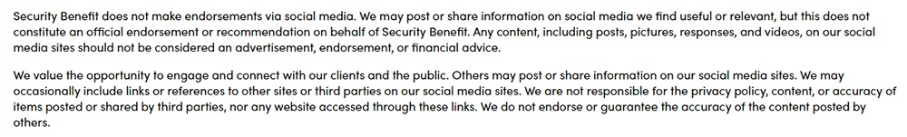 Security Benefit social media disclaimer addressing liability and warrantyy