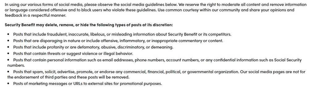 Security Benefit social media disclaimer reserving the right to moderate content