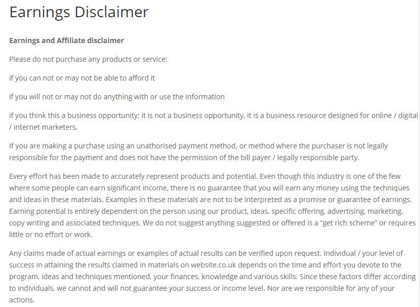 Earnings Disclaimer >> Uk Earnings Disclaimers Termsfeed
