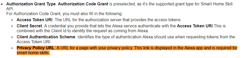 Alexa blog: Creating Your First Alexa Home Skill - Authorization Grant Type section: Privacy Policy URL highlighted