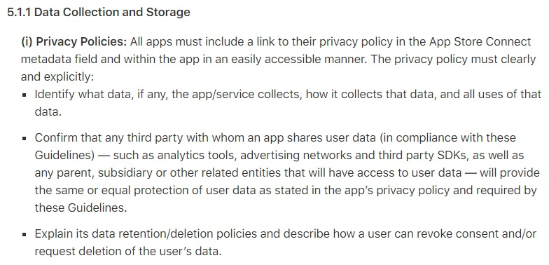 Apple App Store Review Guidelines: Clause for Data Collection and Storage