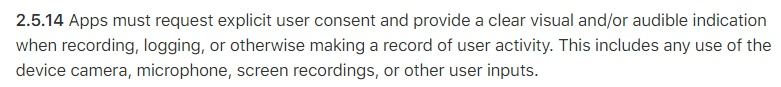 Apple App Store Review Guidelines: Clause for requirement to request explicit consent when recording user activity