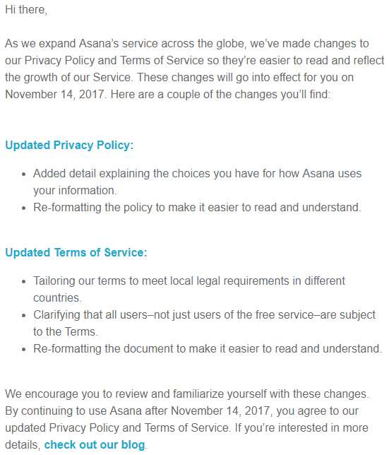 Screenshot of Asana email with notice of changes to Privacy Policy and Terms of Service
