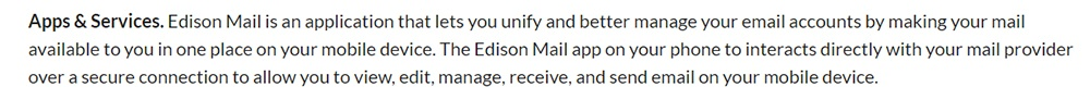 Edison Privacy Policy: Apps and Services clause - Mail excerpt