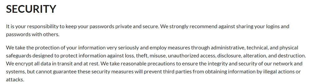 Edison Privacy Policy: Security clause
