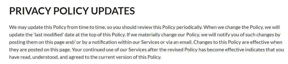 Edison Privacy Policy: Privacy Policy Updates clause