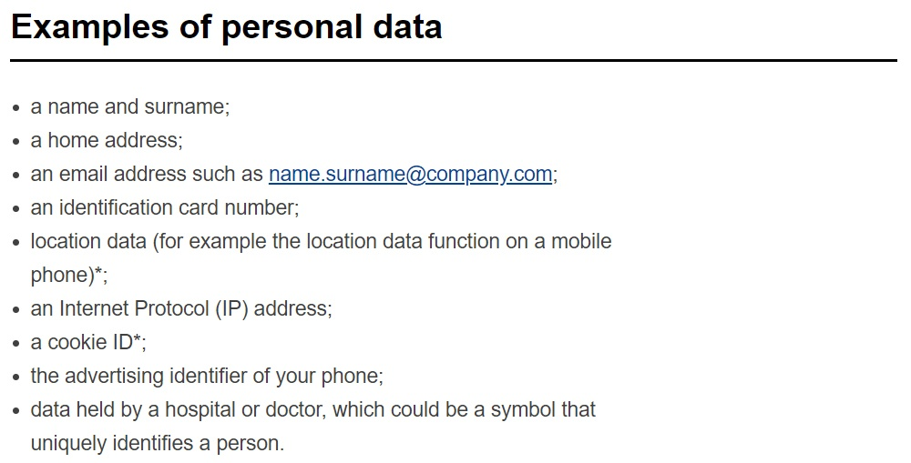 Screenshot of list of examples of personal data from the European Commission