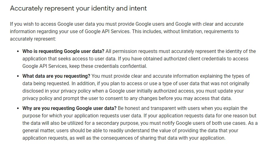 Google API Services: User Data Policy - Accurately represent your identity and intent section