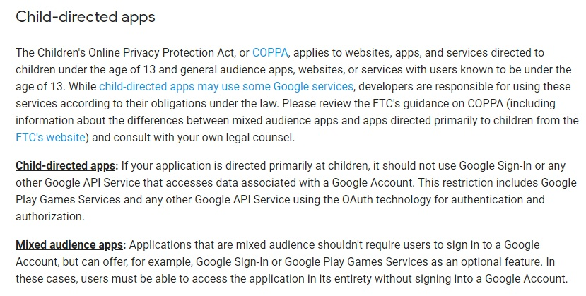 Google API Services: User Data Policy - Child-directed apps section