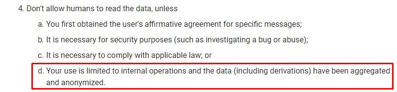 Google API Services: User Data Policy: Restricted Scope - Limited Use section 4d