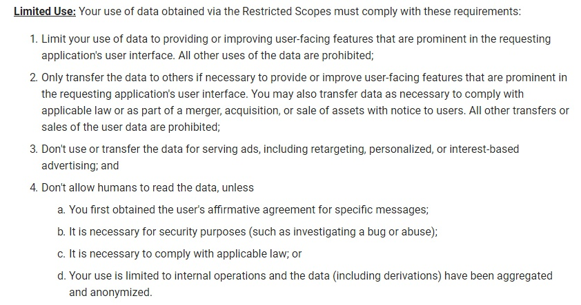 Google API Services: User Data Policy: Restricted Scope - Limited Use section