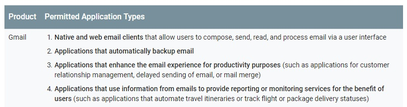 Google API Services: User Data Policy: Restricted Scope - Product and Permitted Application Types - Gmail section