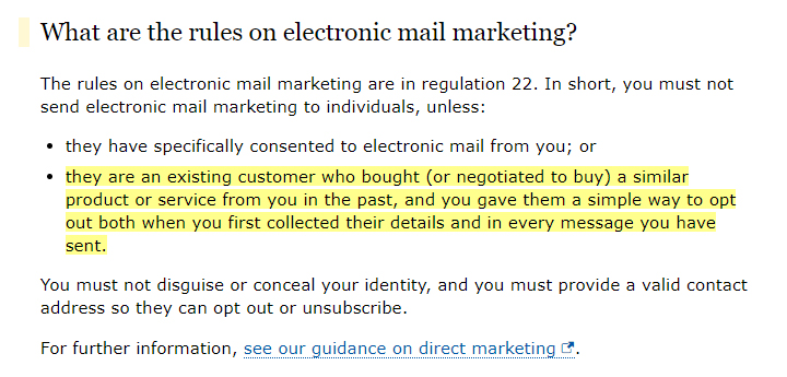 ICO: Electronic Mail Marketing rules