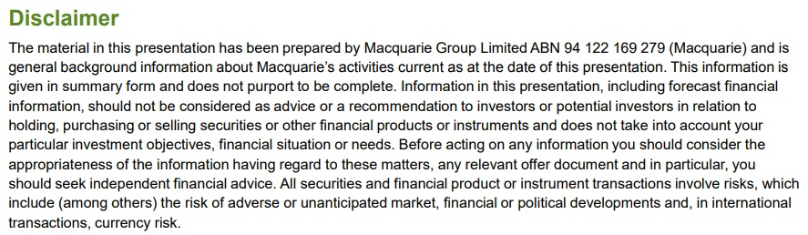 Macquarie disclaimer: Excerpt for errors, omissions, advice and risks