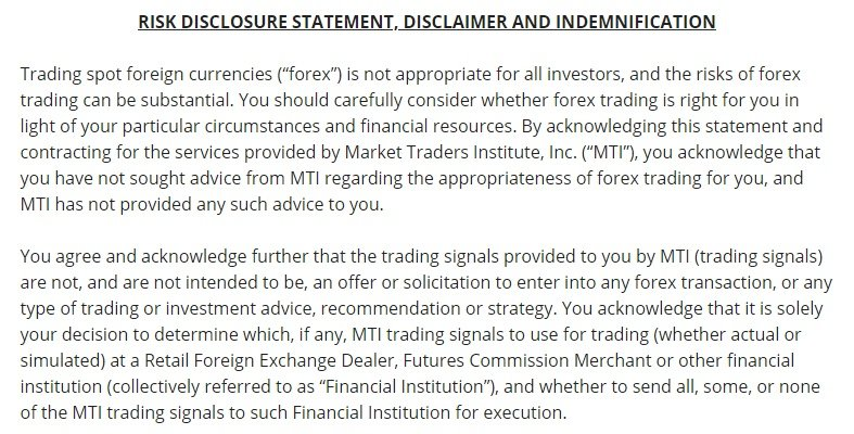 Market Traders Institute: Excerpt of Risk Disclaimer