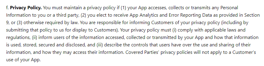 Microsoft App Developer Agreement Terms and Conditions: Privacy Policy clause