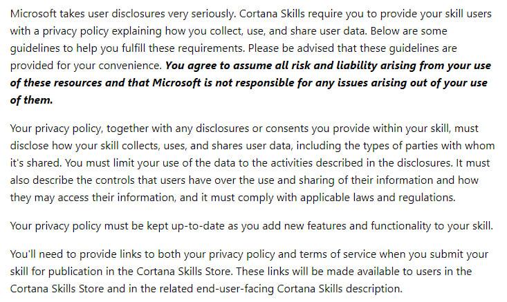 Microsoft Cortana Dev Center: Privacy Policy guidelines