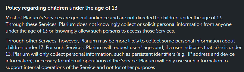 Plarium Privacy and Cookies Policy: Children clause excerpt