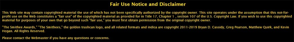 Smithee Awards Fair Use Notice and Disclaimer