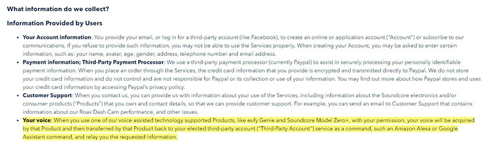 Soundcore Privacy Policy: Information Provided by Users clause - Your Voice section highlighted