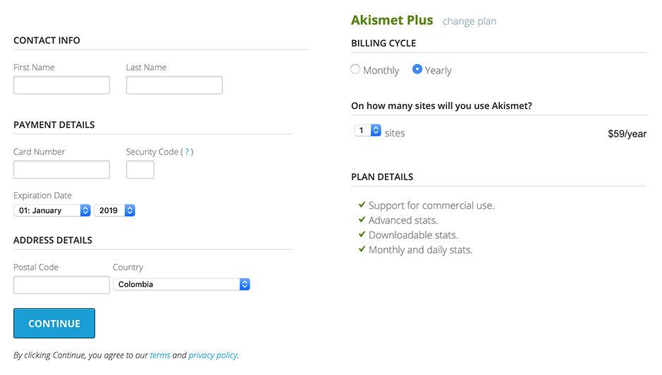 Akismet checkout form