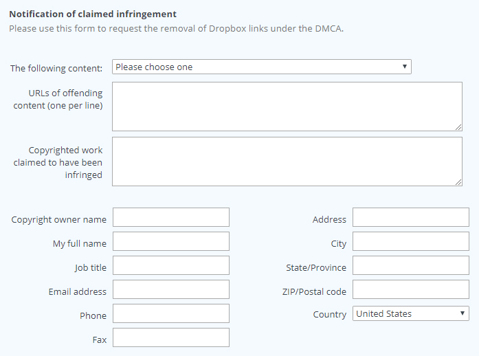 Dropbox DMCA Notification of Claimed Infringement webform fields
