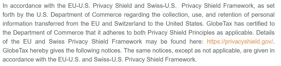 GlobeTax Privacy Policy: Privacy Shield adherence clause