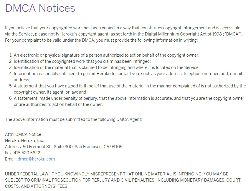 Heroku DMCA Notices instructions page