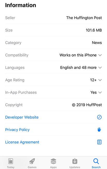 HuffPost Apple app store listing