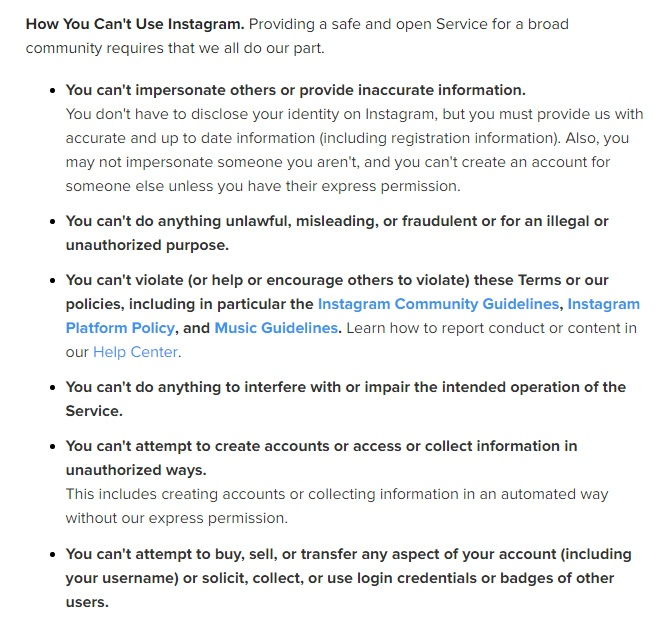 Instagram Terms of Use: Prohibited Activities clause excerpt