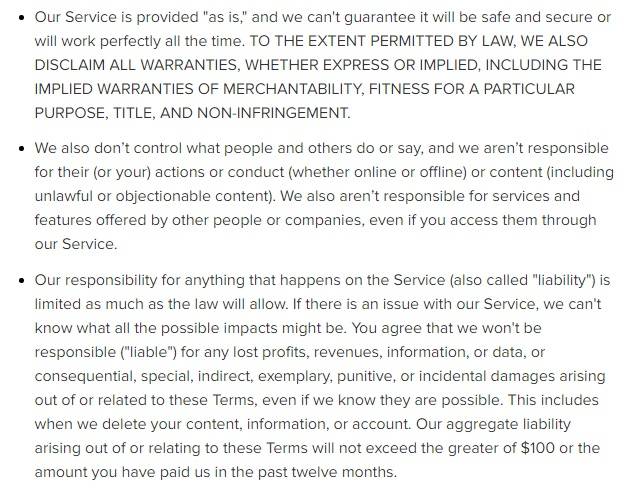 Instagram Terms of Use: Warranty, liability and content disclaimer clauses