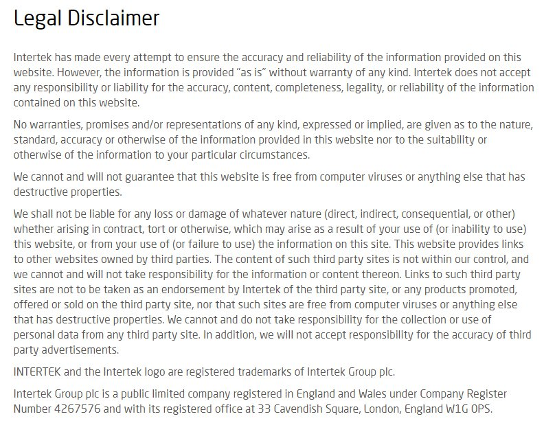 Intertek legal disclaimer