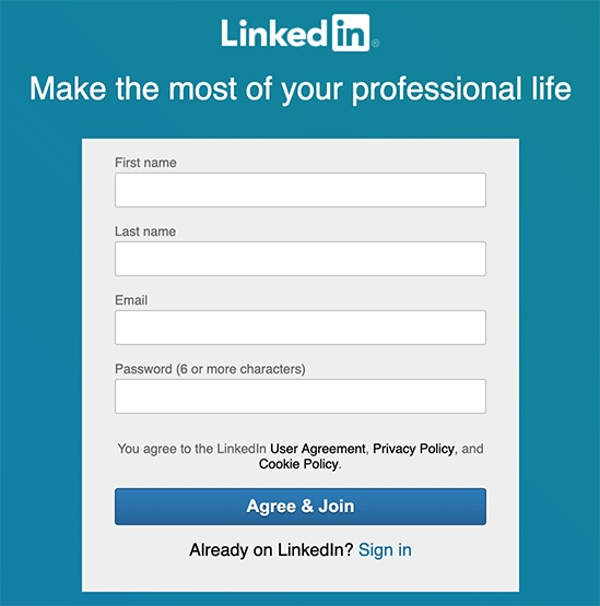 LinkedIn Create Account form with Agree and Join button