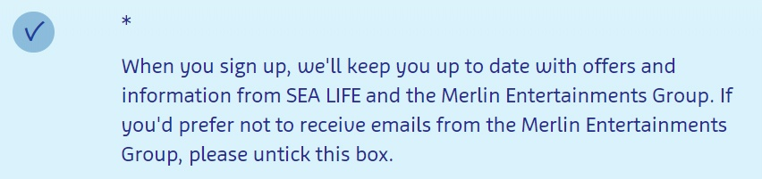 Sea Life Aquarium email sign-up form consent disclosure