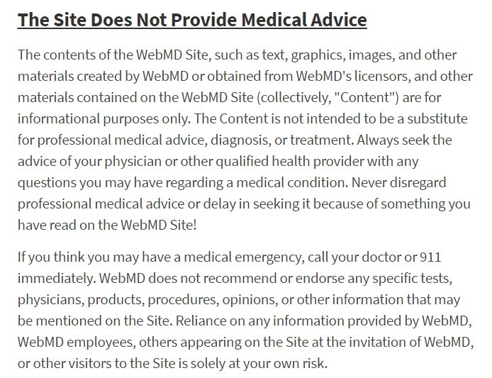 WebMD medical advice disclaimer