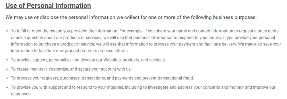 Abacus Privacy Notice for CA Residents: Use of Personal Information clause excerpt