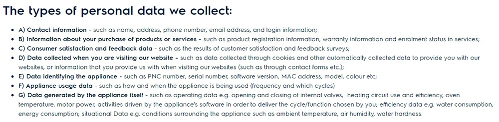 Electrolux Data Privacy Statement: Types of Personal Data We Collect clause