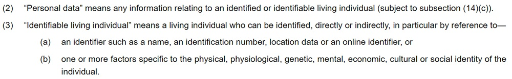 Legislation Gov UK - DPA 2018 definitions of personal data and identifiable living individual