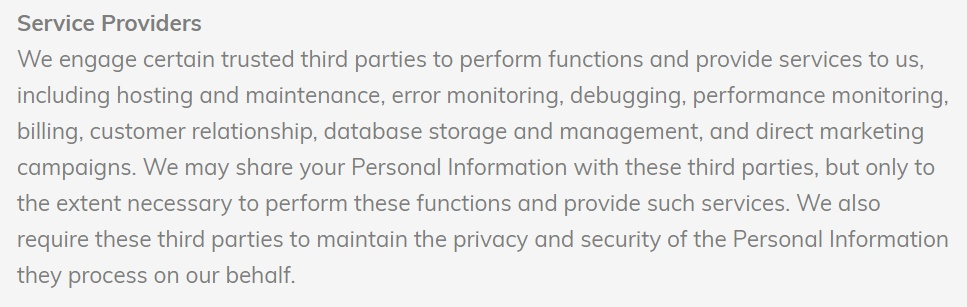Lumen5 Privacy Policy: Service Providers clause
